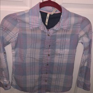 Other - Pastel blue and pink plaid button down shirt